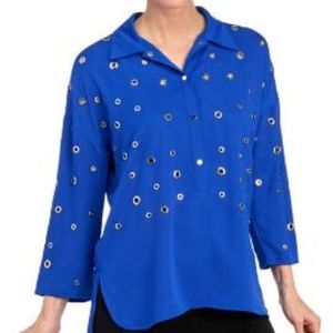 Alberto Makali Blue 3/4 Sleeve Embellished Top L